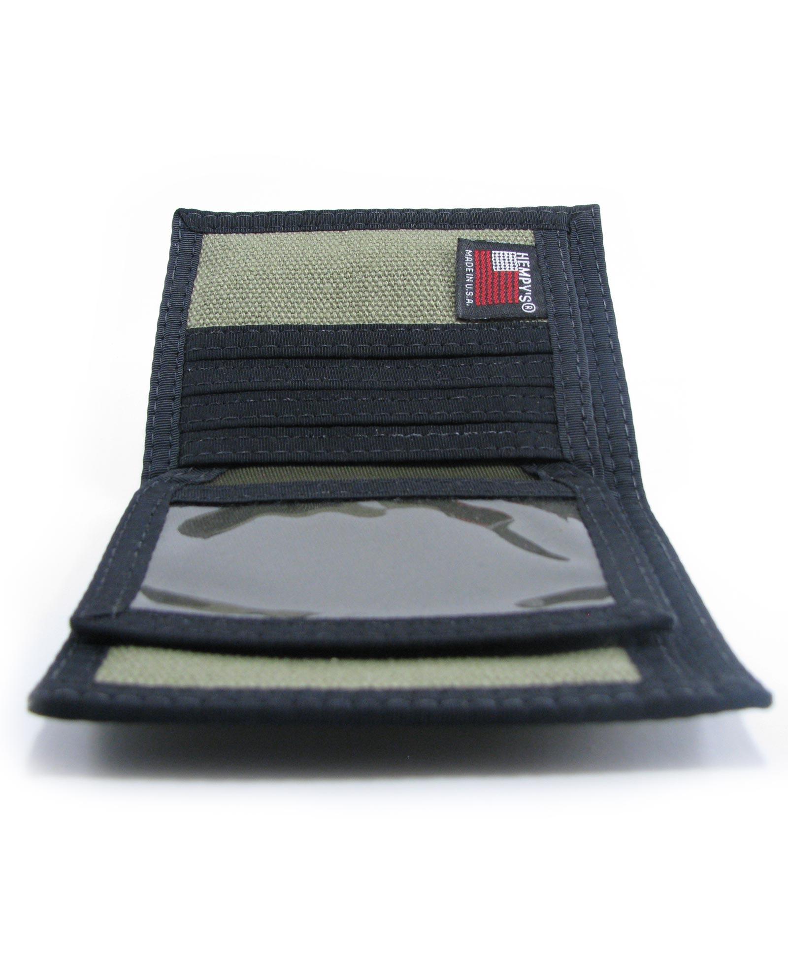Hemp bi fold wallet green and rasta with black trim hempy s quality