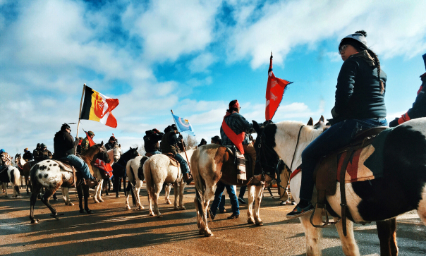 Lakota rally against Dakota Access pipeline, April 2016 (Via Warrior Publications)