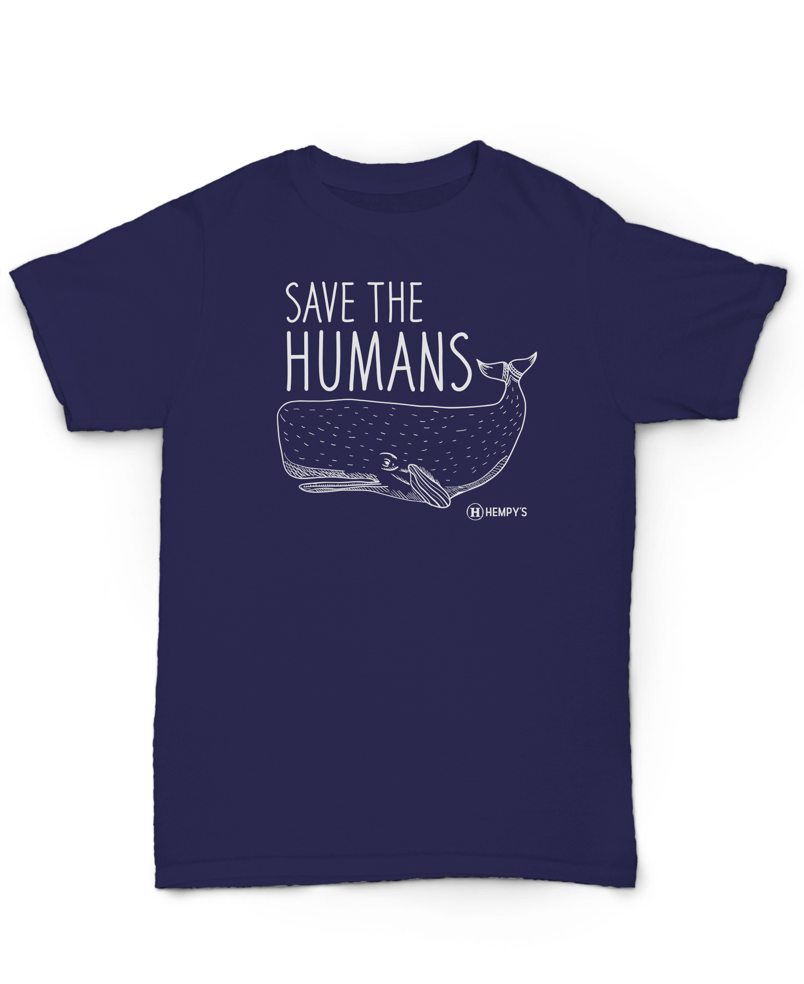 Hemp T Shirt Save The Humans Blue