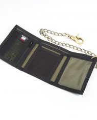 Hempy_s Tri-fold Chain Wallet with Trim-Black Rasta Inside