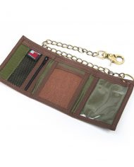 Hempy_s Tri-fold Chain Wallet with Trim-Brown Rasta Inside