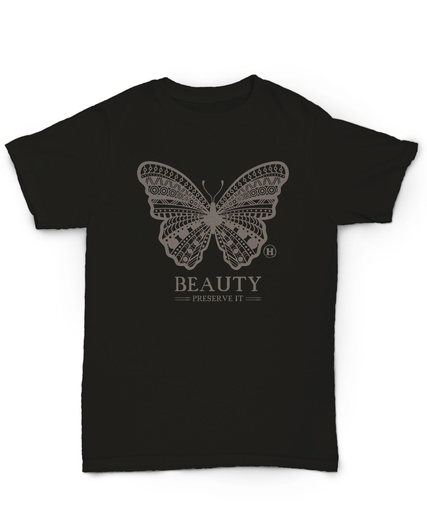Hemp T Shirt Totem Series Butterfly Black