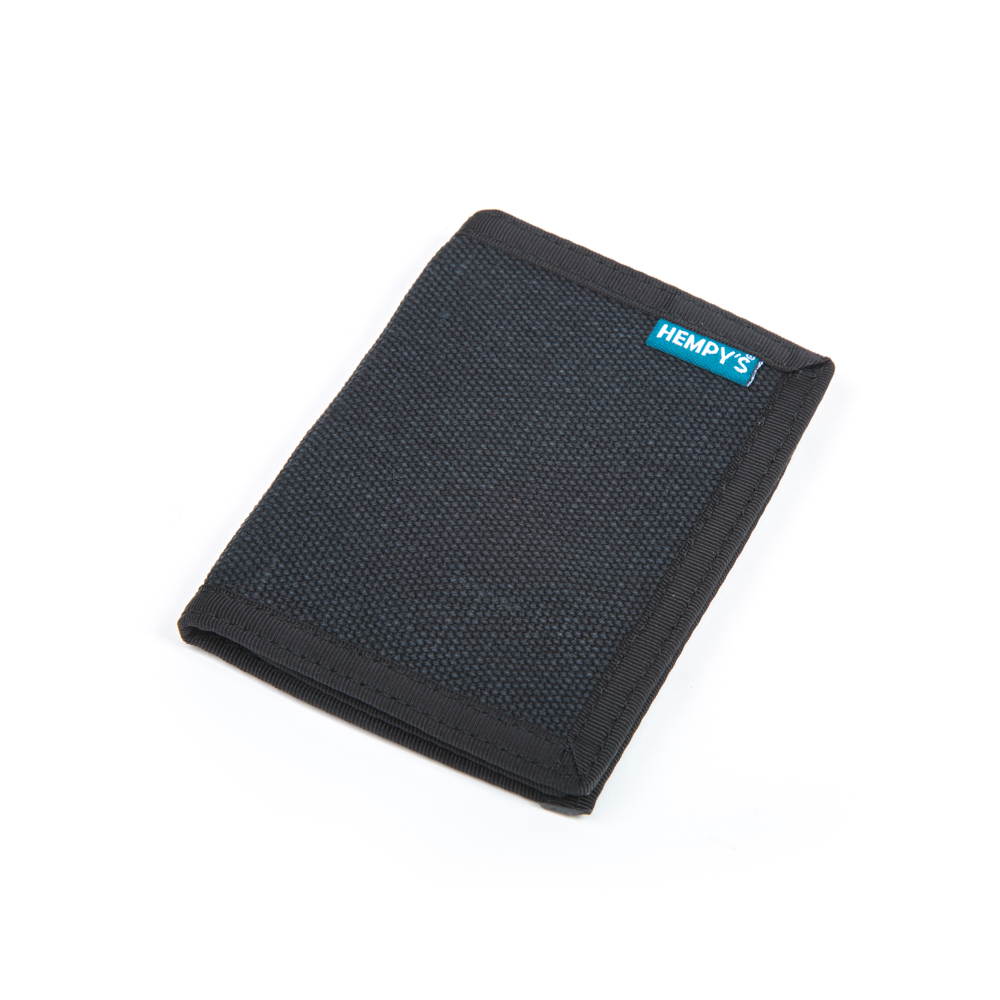Hemp Bi-fold Wallet Black with Black Trim