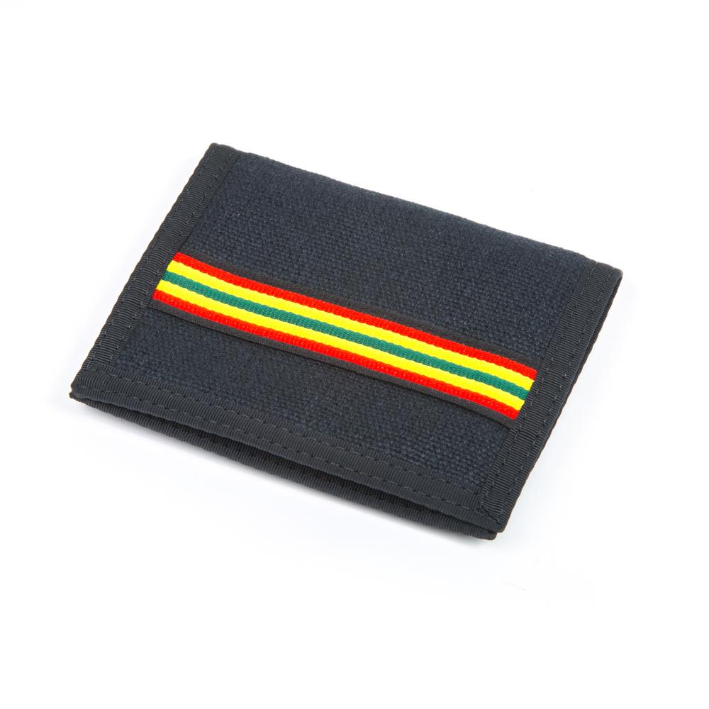 Hemp Bi-fold Wallet Black and Rasta with Black Trim