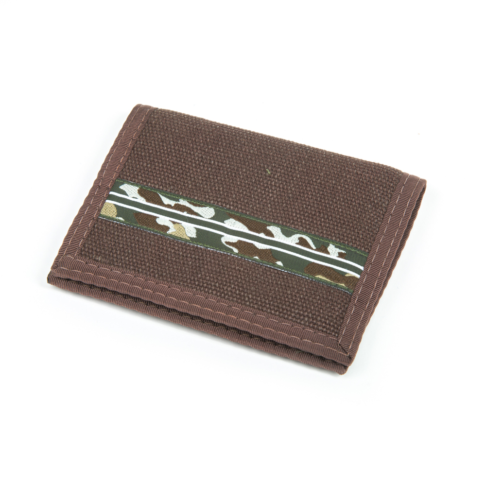 Hemp Bi-fold Wallet Brown and Camo with Brown Trim