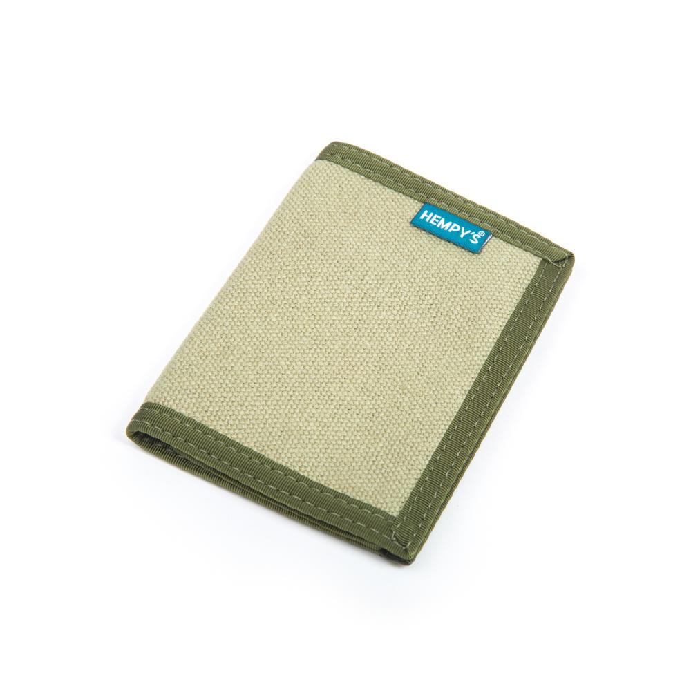Hemp Bi-fold Wallet Green with Green Trim