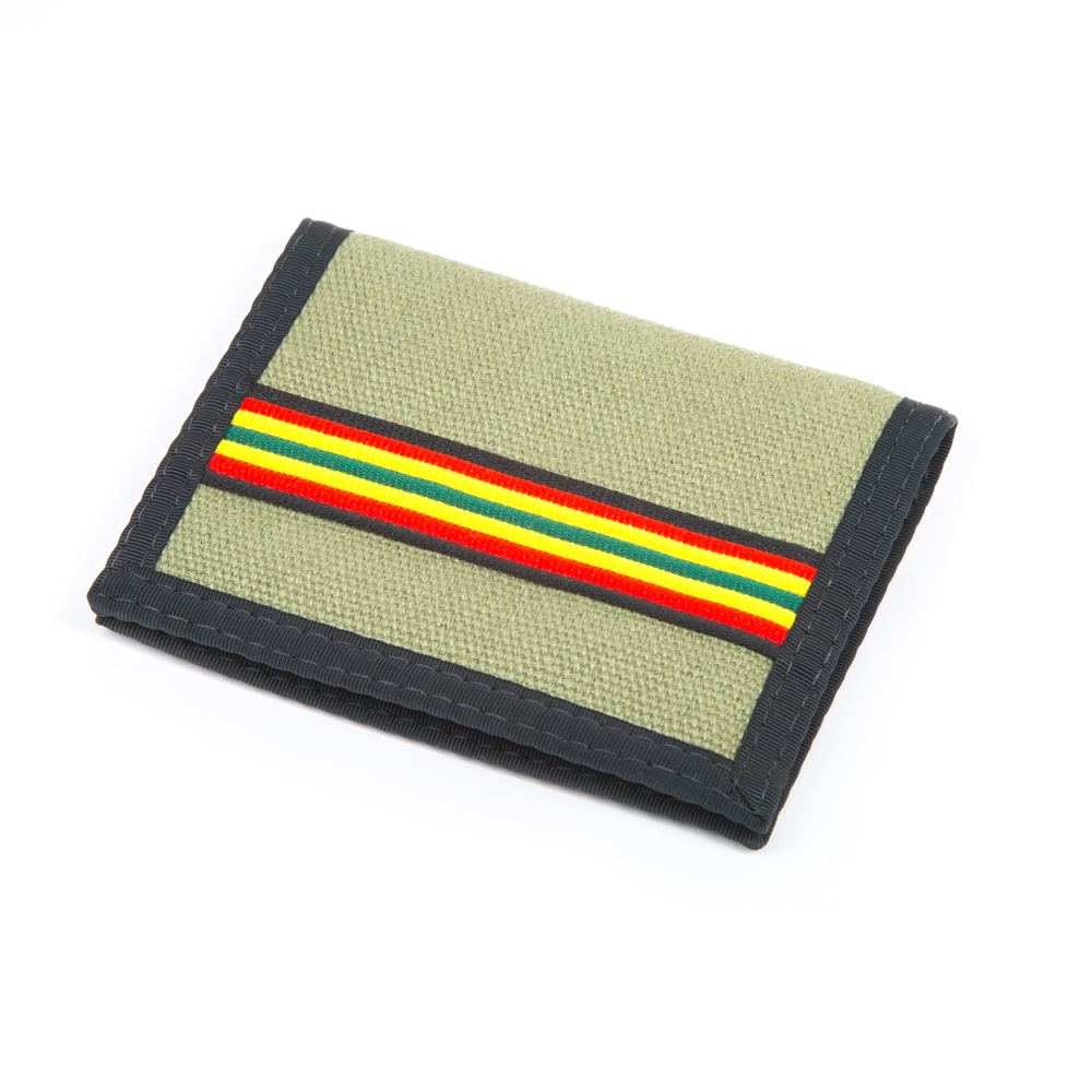 Hemp Bi-fold Wallet Green and Rasta with Black Trim