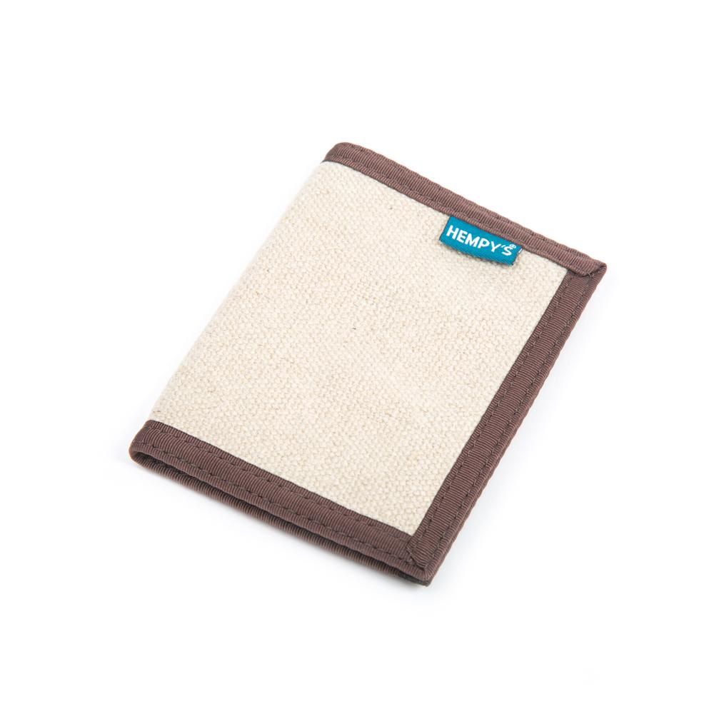 Hemp Bi-fold Wallet Natural with Brown Trim