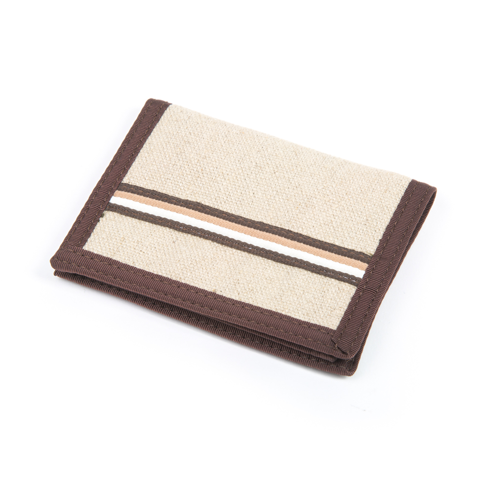 Hemp Bi-fold Wallet Natural and Stripe with Brown Trim