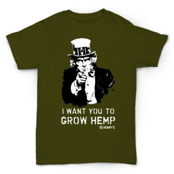 Hemp T Shirt Uncle Sam Green