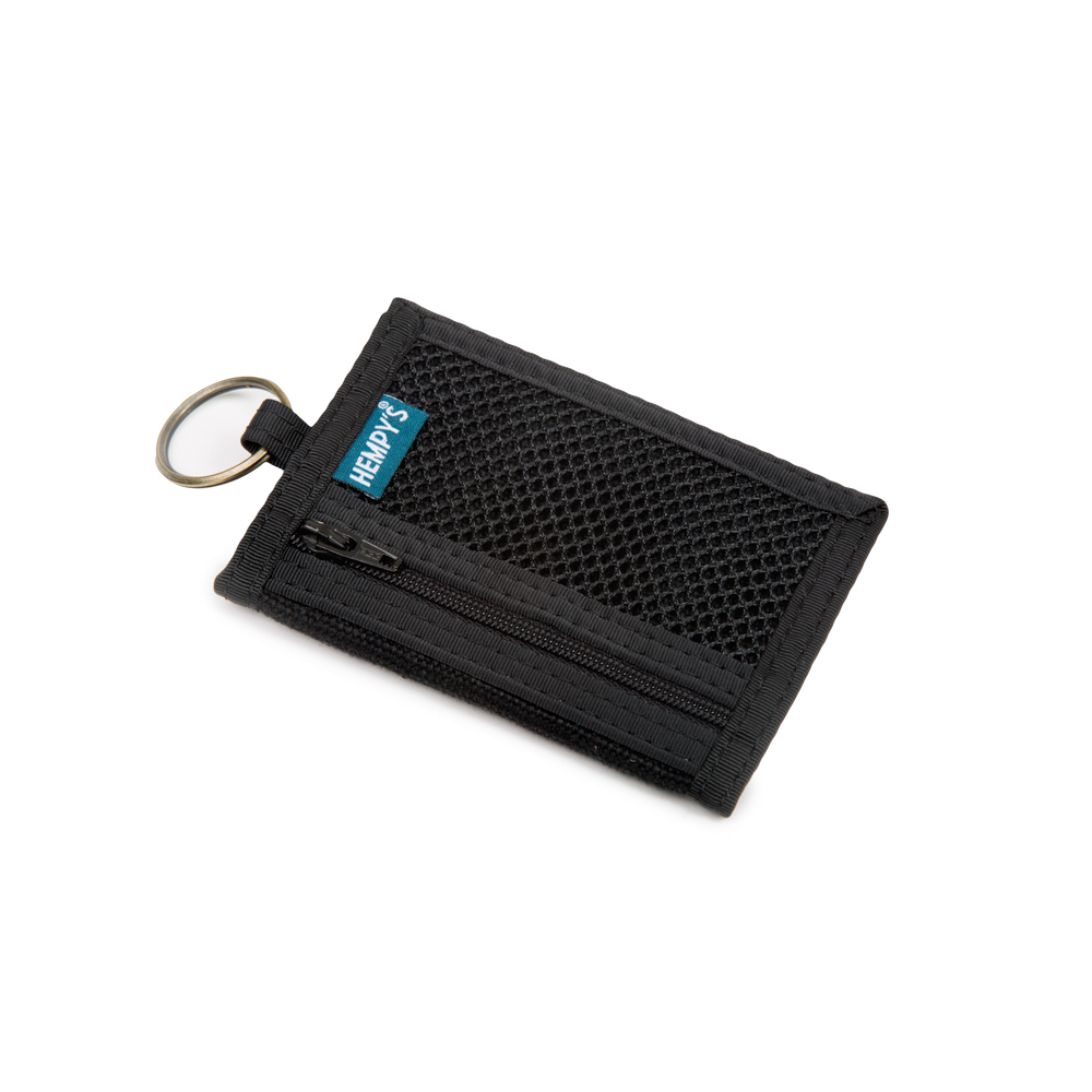 Hemp Key Ring Wallet Black with Black Trim