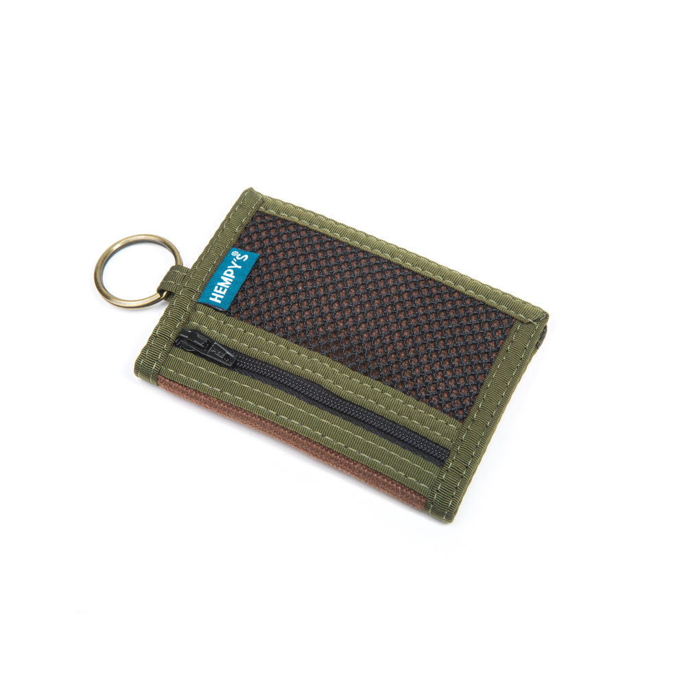 Hemp Key Ring Wallet Brown with Green Trim