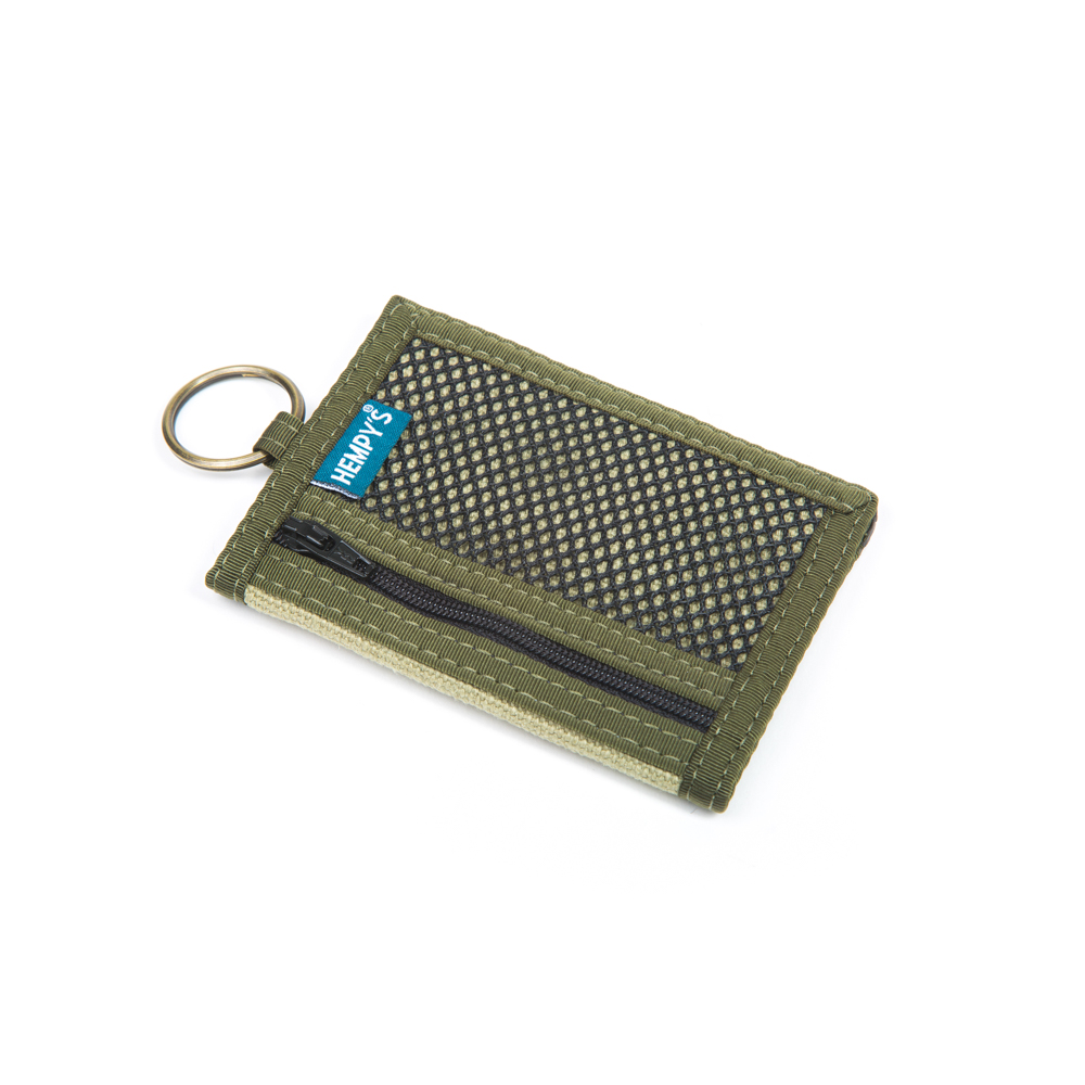 Hemp Key Ring Wallet Green with Green Trim
