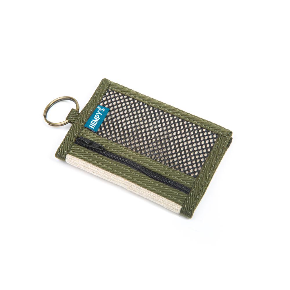 Hemp Key Ring Wallet Natural with Green Trim