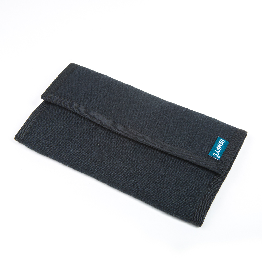 Hemp Organizer Wallet Black with Black Trim