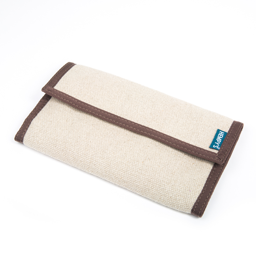 Hemp Organizer Wallet Natural with Brown Trim