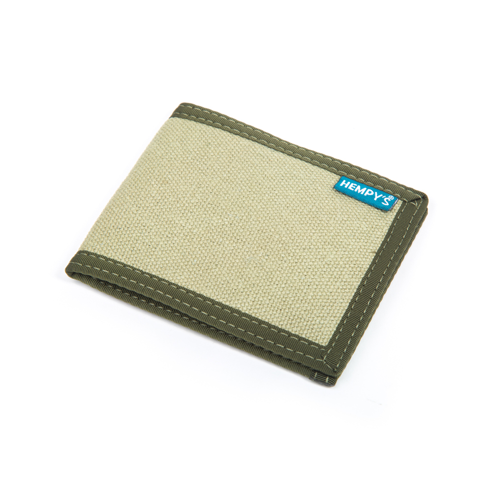 Hemp Slim Line Wallet Green with Green Trim