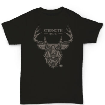 Hemp T Shirt Totem Series Deer Black
