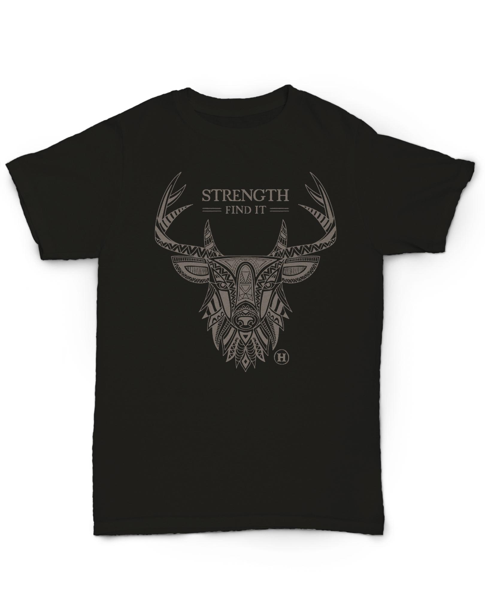 Hemp T Shirt Totem Series Deer Black