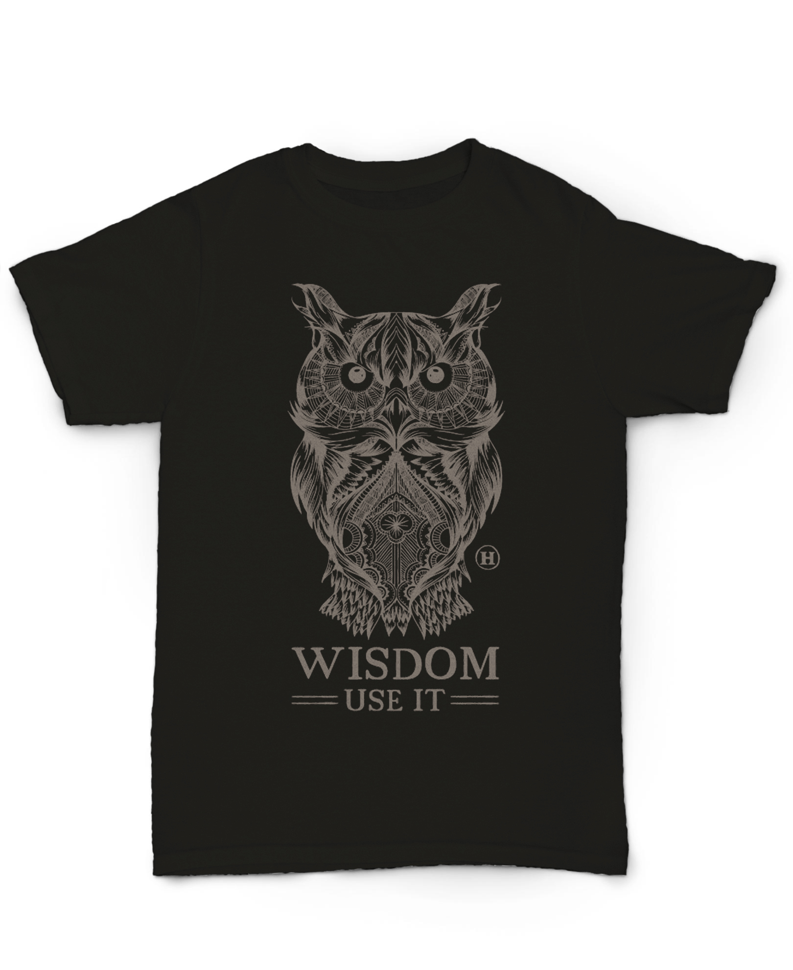 Hemp T Shirt Totem Series Owl Black